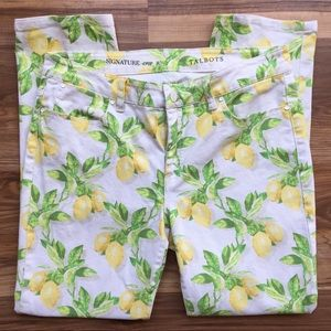 Talbots Signature Crop Lemon Printed Jeans